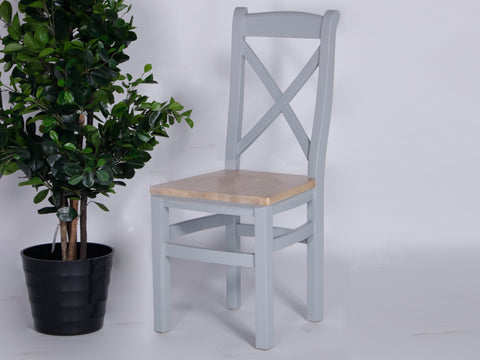 Derbyshire Grey Cross Back Chair with Solid Oak Seat