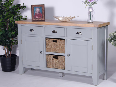 Derbyshire Grey Sideboard, Large with 3 Drawers, 2 Baskets and 2 Cupboards