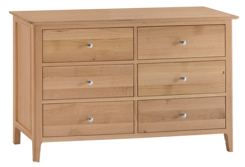 Northamptonshire Oak Wide Chest of Drawers, 6 Drawers