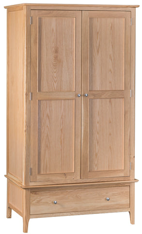 Northamptonshire Oak Gents Wardrobe, with 2 doors and 1 drawer