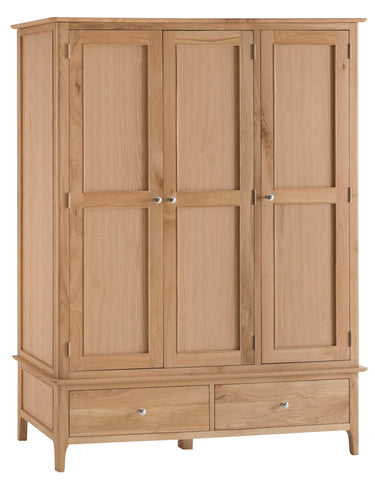 Northamptonshire Oak Triple Wardrobe, with 3 doors and 2 drawers