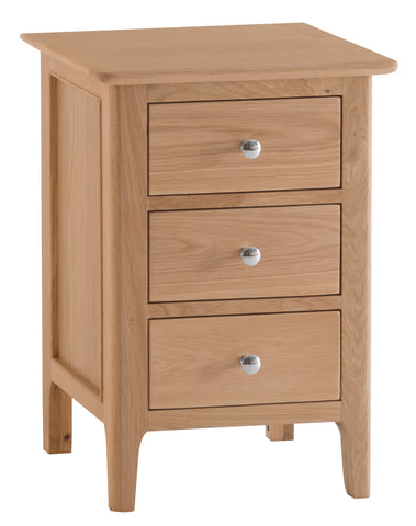 Northamptonshire Oak Bedside Table, Large with 3 drawers