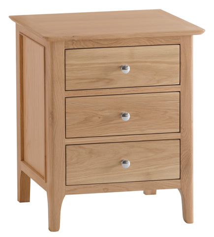 Northamptonshire Oak Bedside Table, Extra Large with 3 drawers