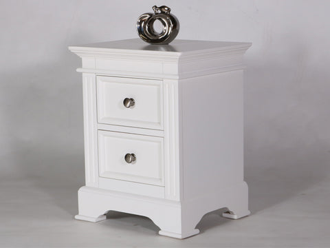 Philippe White Bedside Table with 2 Drawers