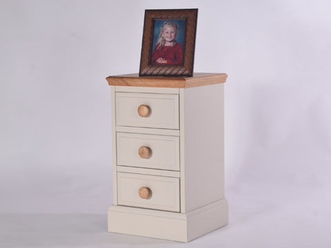 Stamford Two Tone Painted Bedside Table with 3 Drawers, Small