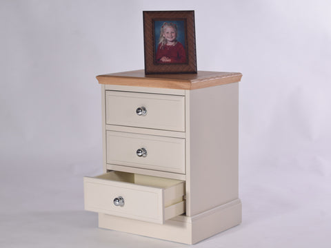 Stamford Two Tone Painted Bedside table with 3 Drawers, Large