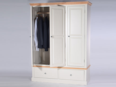 Stamford Two Tone Painted Wardrobe with 3 Doors and 2 Drawers