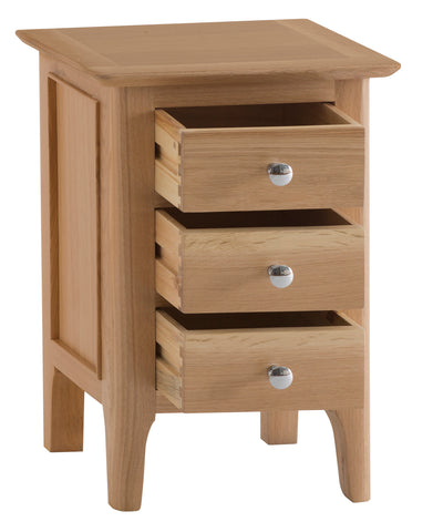 Northamptonshire Oak Bedside Table, Small with 3 drawers