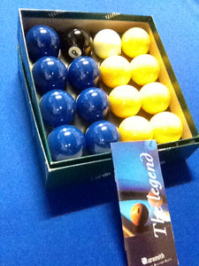 "Aramith Blue and Yellow 2"" Set"