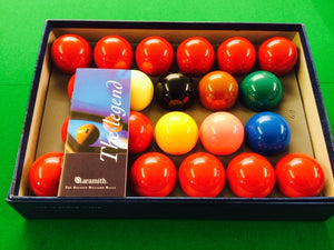 "Full Size 2"" 1/16th Aramith Tournament Champion Snooker Set"