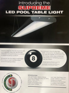 Supreme Tournament LED Pool Table Lighting in Light Grey Finish