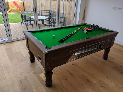 **In Stock** 6' Walnut Supreme Prince Coin Operated Pool table