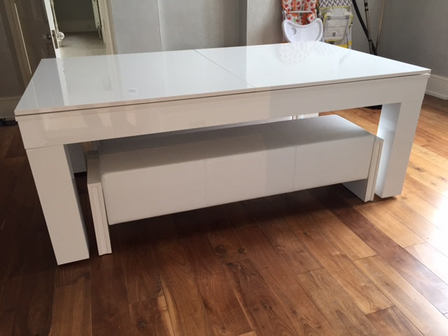 Duo Milano Piano White Gloss Finish Dining Entertainment Table