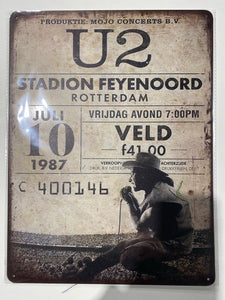 U2 Ticket 30cm x 40cm Tin Art