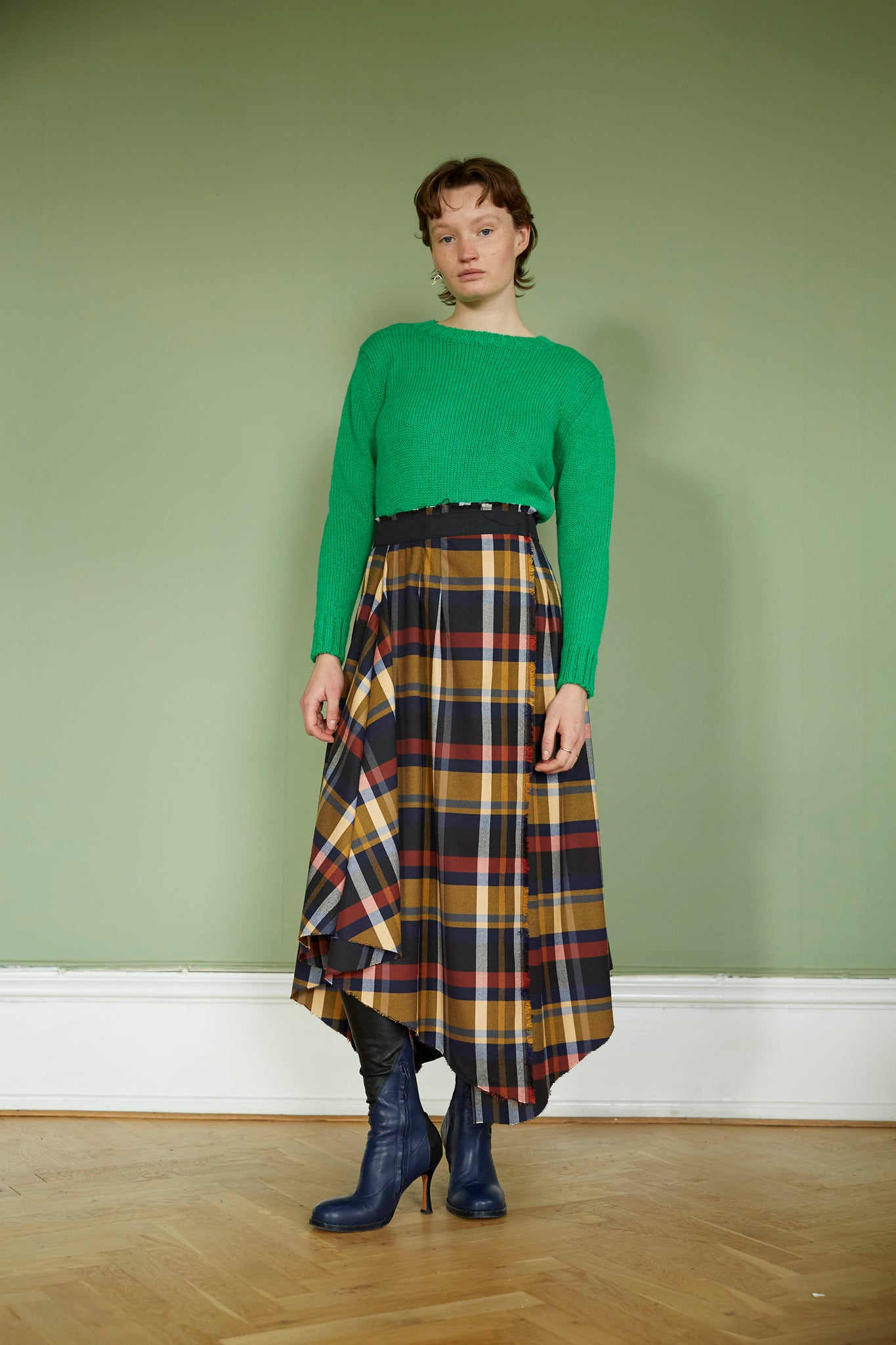 Checkered Wool Skirt