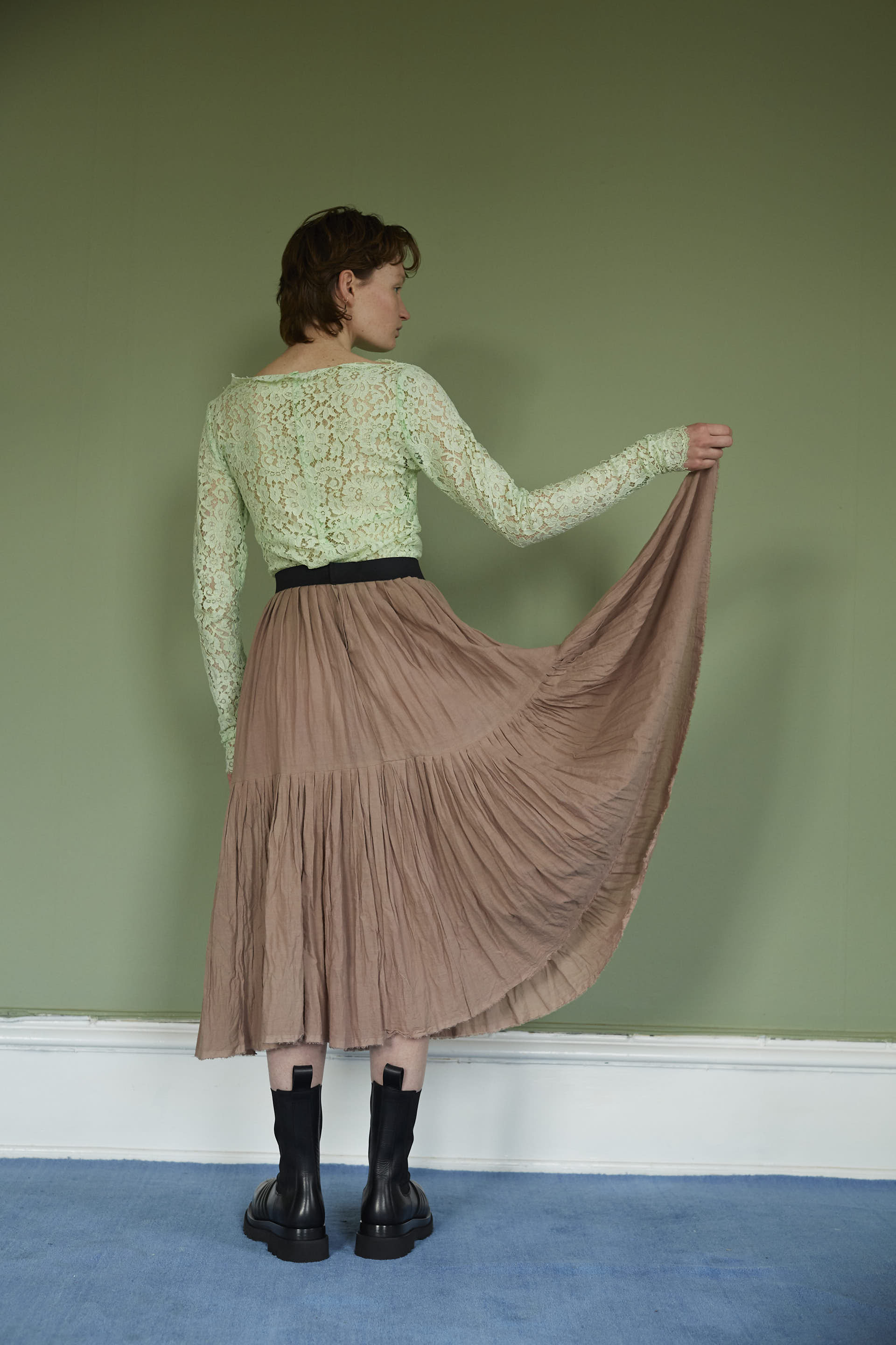 Cotton Pleated Skirt