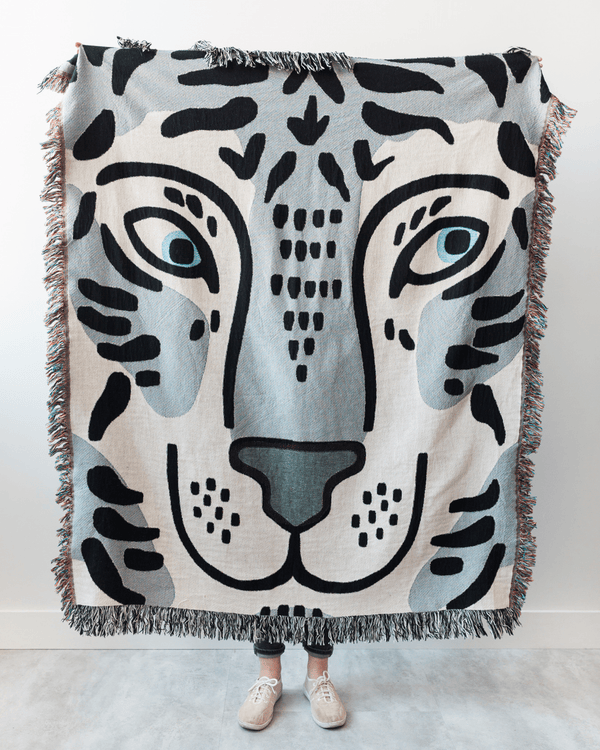 Tiger Woven Blanket - Blue Grey