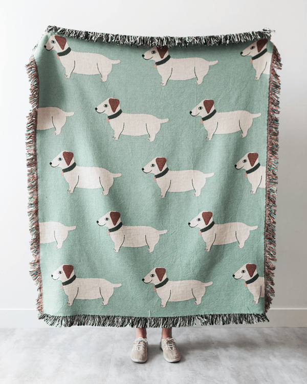Wiener Dogs Throw Blanket (Green)