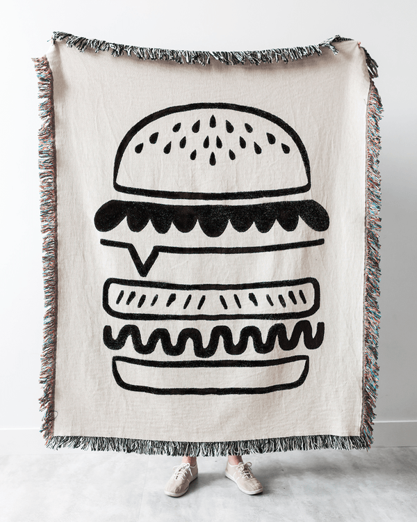 Burger Woven Throw Blanket