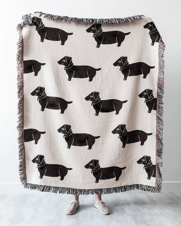 Wiener Dogs Throw Blanket (Black & White)