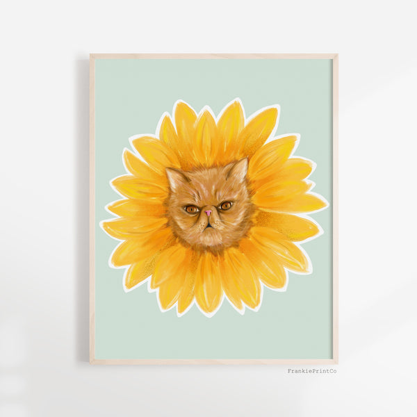 Sunflower Cat Art Print