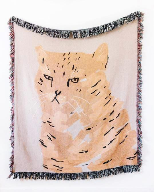 Grouchy Cat Throw Blanket