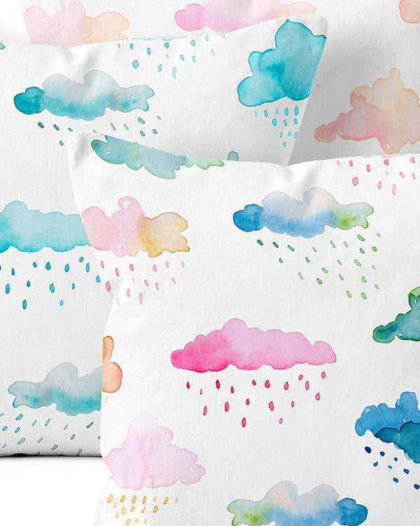 Watercolour Clouds Throw Pillow