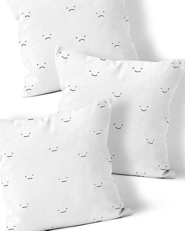Happy, Sad + Neutral Face Pillows