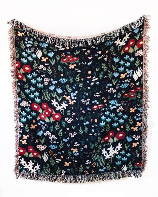 Black Floral Throw Blanket