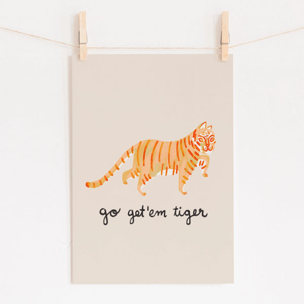 Tiger Art Print - Orange
