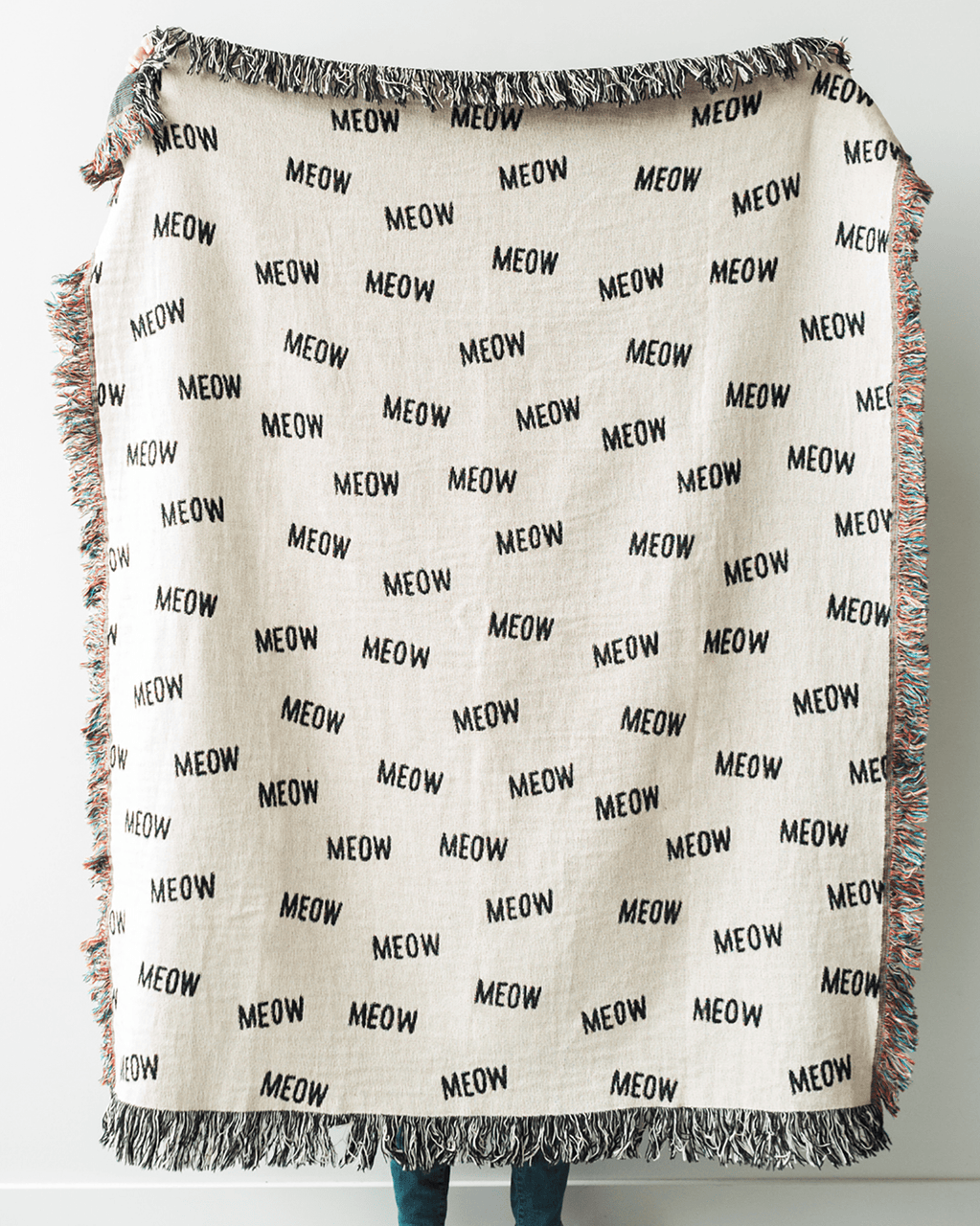 "Cat Throw Blanket - ""MEOW"" Black and White"