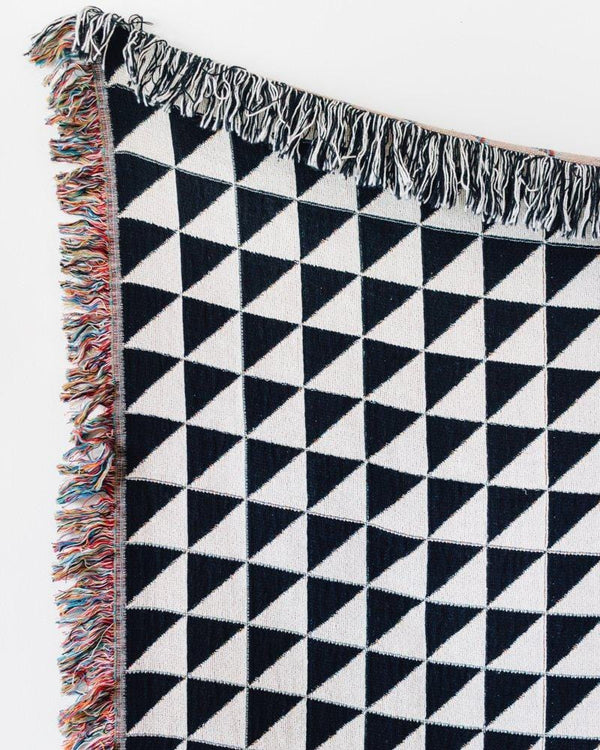 Black + White Triangles Throw Blanket