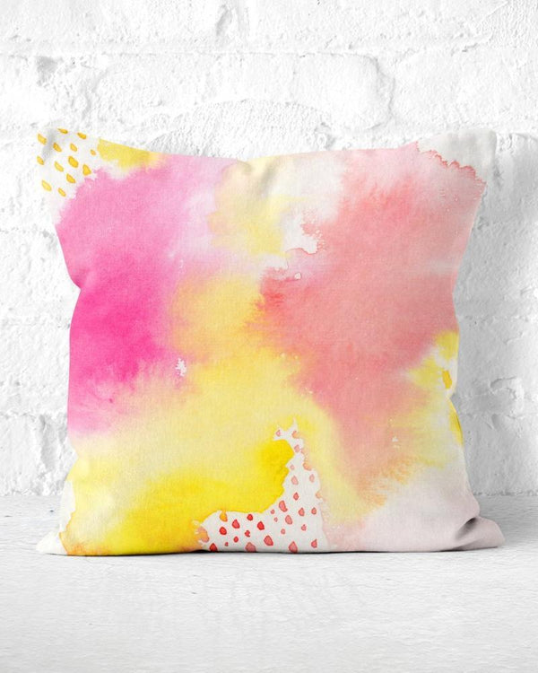 Watercolor Pillow, Pink Throw Pillow, Pink and Yellow, Abstract Pillow, Modern Throw Pillow, Cute Throw Pillow, Pink Toss Pillow