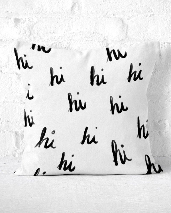 Hi Pillow, Black White Pillow, Pillow with Words, Handwritten Pillow, Hi Pillow Case, Hi Throw Pillow, Calligraphy Pillow, Cute Throw Pillow