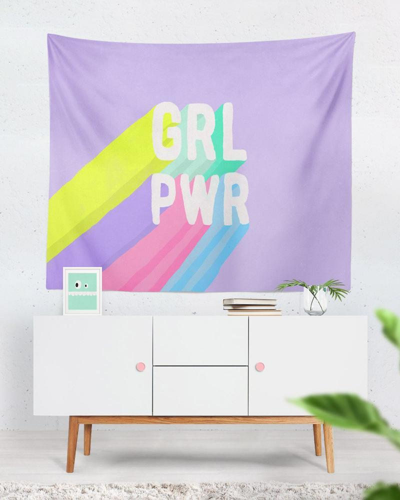 Girl Power Tapestry - Purple tapestry, Cute Wall Decor for Girls, Women, and Everybody
