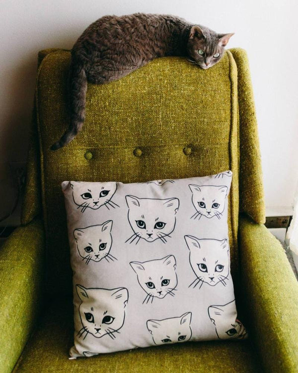 Cat Throw Pillow, Cute Cat Pillow, Cute Throw Pillow, Kids Room Decor, Nursery Room Decor, Nursery Throw Pillow, Kids Throw Pillow, Grey Cat
