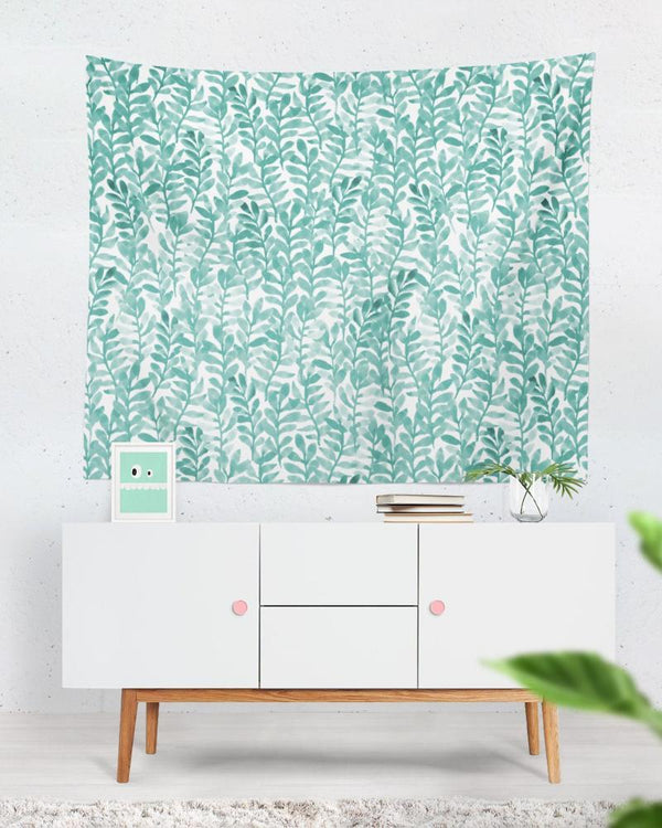 Floral Wall Tapestry - Green Tapestry, Green Floral Art, Watercolor Painting