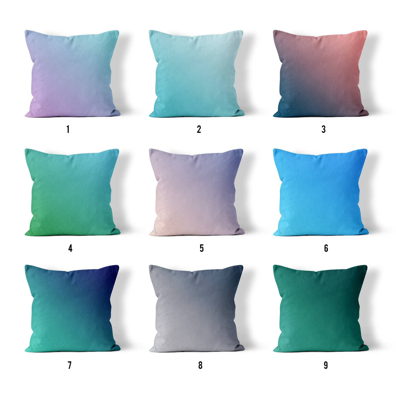 Gradient Throw Pillows, Ombre Throw Pillow, Blue Throw Pillow, Green Throw Pillow, Mermaid Decor, Pretty Throw Pillows, Jewel Tone Pillow