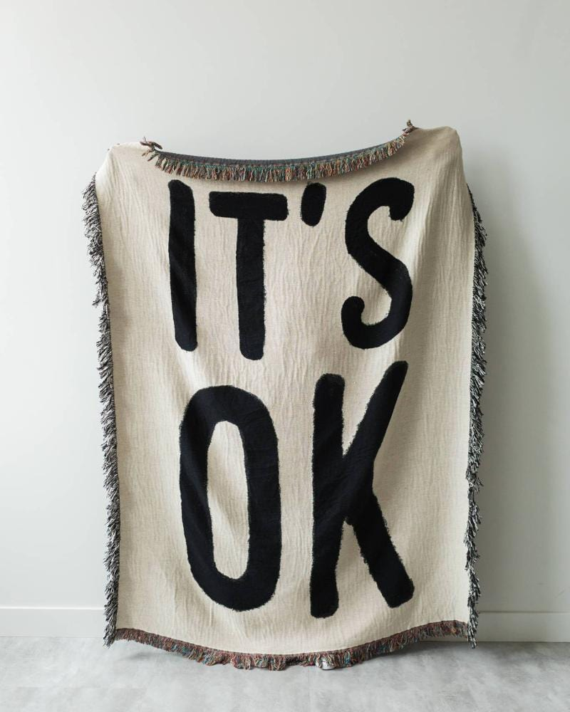 IT'S OK Woven Throw Blanket - Black and White Throws for Dorm Room Decor, Dorm Blankets, Dorm Tapestry