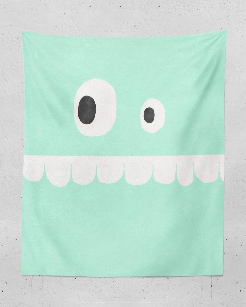 Cute Tapestry - Funny Face Designs for Cute Bedroom Decor, Dorm Wall Art, Mint Green Kids Decor