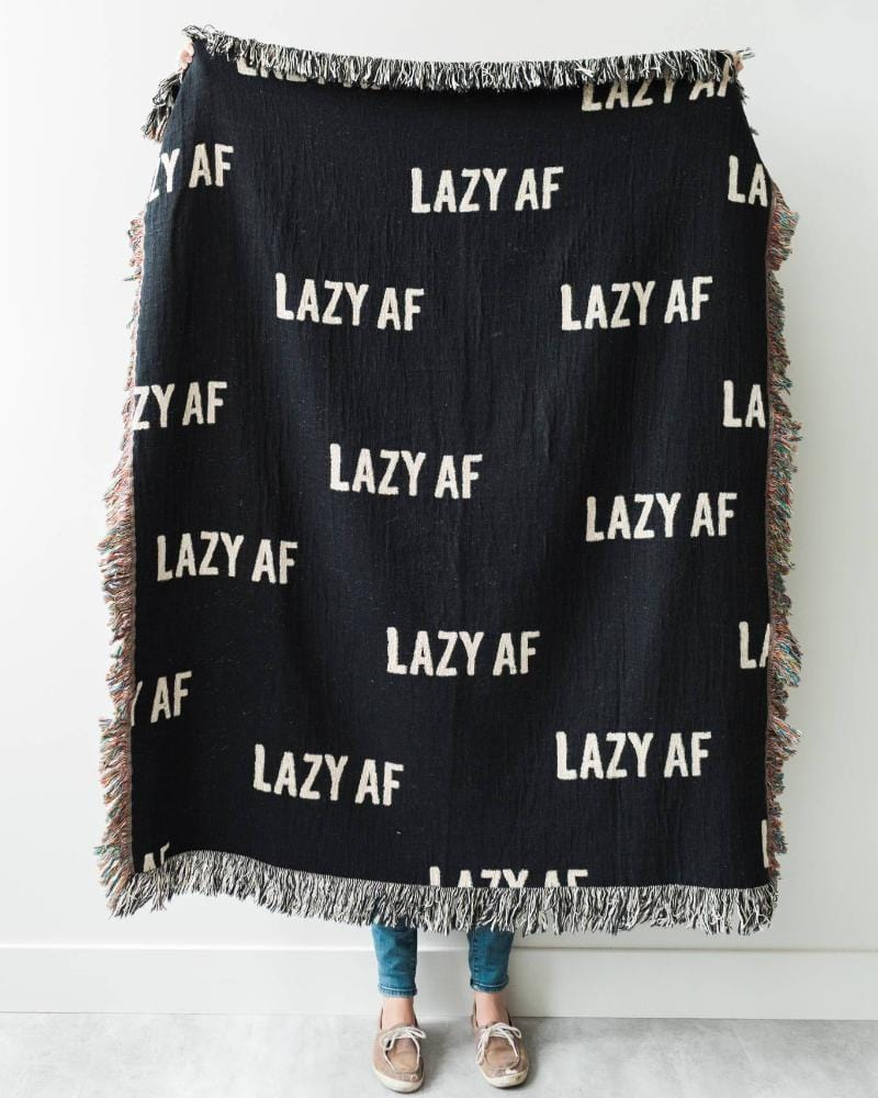 LAZY AF Woven Throw Blanket - Funny Black and White Throw Blanket for Dorm Decor, Funny Decor, etc.