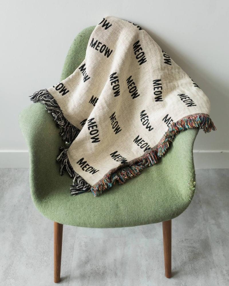 "Cat Throw Blanket - ""MEOW"" Black and White Throws for Cat Room Decor, Dorm Blankets, Funny Blanket, etc."