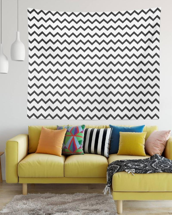 Chevron Wall Tapestry - Black and White Tapestry, Bedroom Tapestry, Dorm Room Tapestries, Large Wall Tapestry, Wall Tapestry Hippie