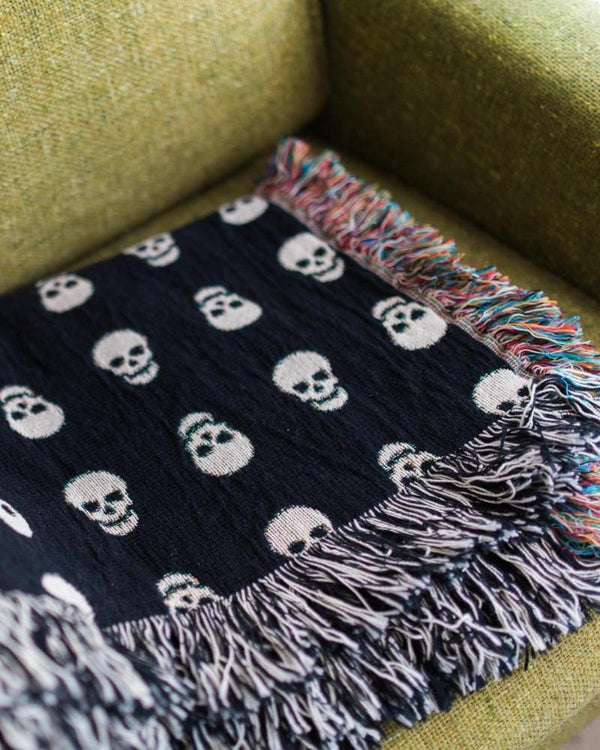 Skull Throw Blanket - Skull Decor, Skull Blanket, Skull Bedding, Black Throw Blanket, Gift for Teen, Gift for Him, Cotton Throw Blanket