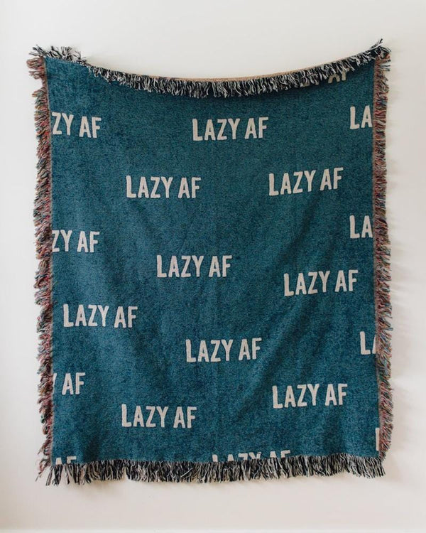 LAZY AF Woven Throw Blanket - Funny Throw Blanket for Dorm Decor, Funny Decor. Cotton Blanket, Blue Throw Blanket, Lazy Blanket, Blue Throw