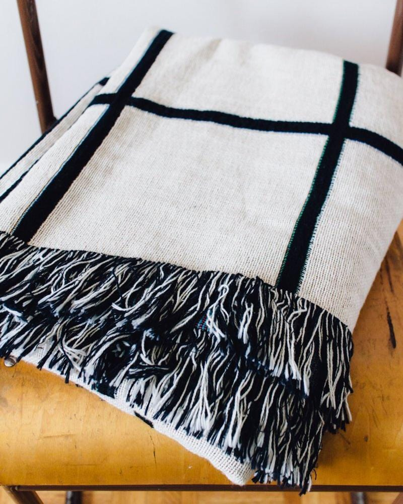 Black & White Woven Blanket - Grid Blanket, Grid Throw, Minimal Home Decor, Modern Blanket, Modern Home Decor, Minimal Home Decor, Throw