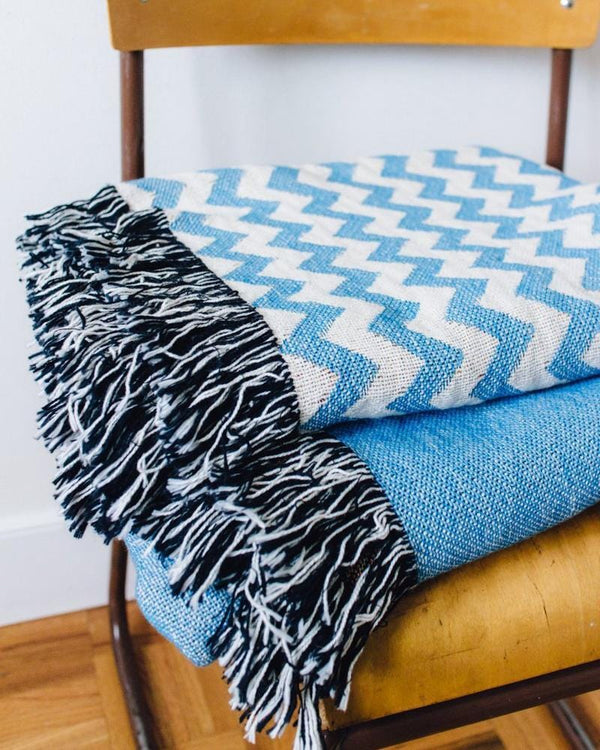 Chevron Woven Blanket - Blue Chevron Blanket, Chevron Throw Blanket, Blue Throw Blanket, Baby Blue Blanket, Chevron Decor, Blue Chevron Deco