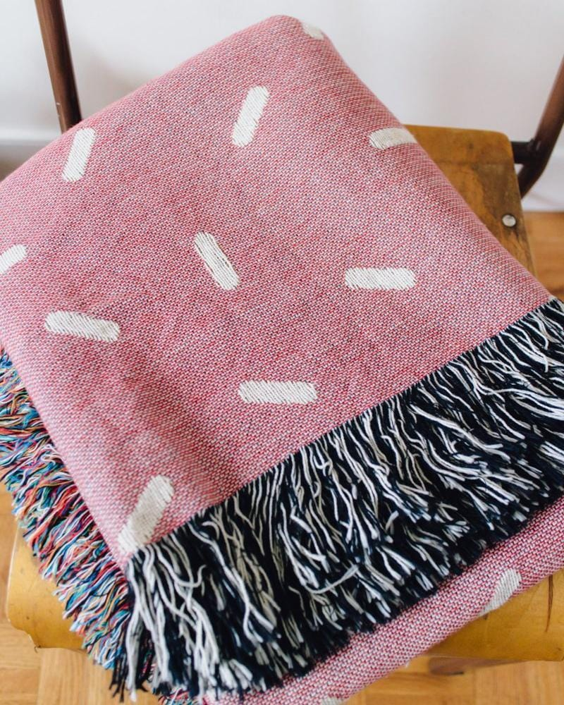 SPRINKLES Woven Throw Blanket - Cotton Throw, Pink Throw Blanket, Cute Throw Blanket, Pink Blanket, Pink Home Decor