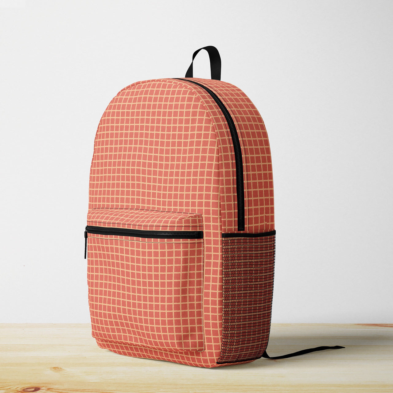Burnt Orange Grid Backpack