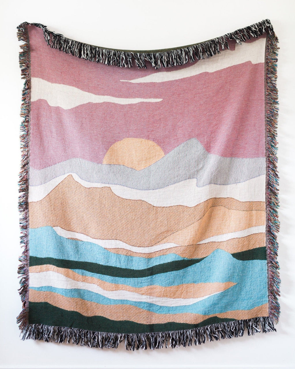 Pink Landscape Throw Blanket